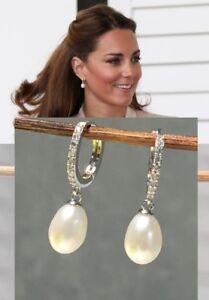 Kate Middleton Genuine Natural Pearl & Diamond Earrings Rhodium Ep estate Piece