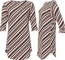 Crew Neck Stretch Striped Plus Size Tops & Shirts for Women