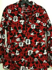 Disney Mickey Mouse Womens M Red Cotton Fleece Pajama Set Top and Pants