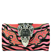 HOT PINK ZEBRA RHINESTONE BUCKLE CLUTCH TRIFOLD WALLET CROSS BODY STRAP 24""
