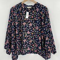 LOFT Floral Print Open Front Kimono Size XS/S Women Long Sleeves NEW