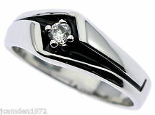 Sleek Mens Ring Solitaire Cz Black Inlay with White Gold Overlay Size 14 F1T1 -D
