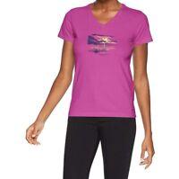 Life Is Good Womens XS Magenta Purple Crusher T-Shirt Happy Hour Kayak