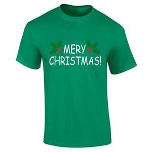 Mens Merry Christmas Leaves Print T Shirt Boys Short Sleeve Cotton Tee Xmas Top