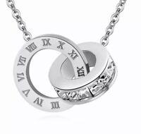 Kette Necklace Römische Ziffern Zahlen Bulgarien Luxus Edelstahl Silber Numbers