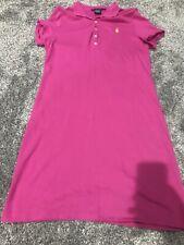 Ralph Lauren Sport Pink Purple  Black Polo Dress Size Large Yellow Logo VGC