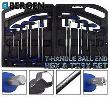 BERGEN 16pc T Handle Torx & Ball Point Hex Key Drive Set Allen Key Security Star