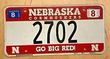 """NEBRASKA CORNHUSKERS UNIV COLLEGIATE  AUTO  LICENSE PLATE """" 2702 """"  GO BIG RED"""