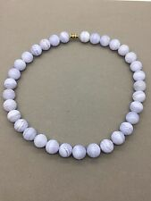 """Vintage strand of 12mm Blue Lace Agate Bead Necklace 16"""""""