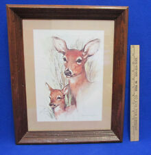 1970s Paul Whitney Doe & Fawn Print Framed In Dark Distressed Wood Signed Matted