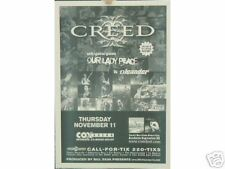 Creed Concert Poster & Handbill Our Lady Peace San Diego Oleander Cox Arena