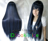 Hatsune Miku Dark Blue Mix Long Straight Anime party Cosplay Full Wig NO:L79