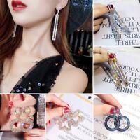 Elegant Luxury Round Earrings Women Crystal Geometric Hoop Earrings Jewelry Gift