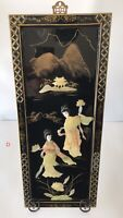 Vintage Oriental Black Lacquer and Mother Of Pearl Wood Wall Panel - D