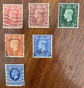 British Stamps Great Britain assorted Machins, GEORGE VI 2 1/, Definitives 55 pc