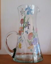 Vintage Hand Blown Painted Clear Glass Pitcher Flared Bottom Attached Handle