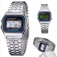 Reloj deportivo Plata de Acero Inoxidable de Parada Digital LCD
