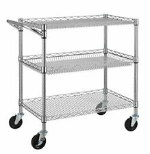 New listing 3 Tier Heavy Duty Commercial Grade Utility Cart, Wire Rolling Cart with
