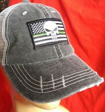 Punisher Ball Cap hat USA flag Cotton Mesh Support Military Green Line Hat