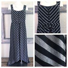 TORRID Hi Lo Maxi Dress Striped Black Gray Sleeveless Sundress Size 1 XL 14 16