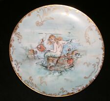 1890'S GERMAN, MERMAID & FRIENDS HAND PAINTED PLATE, EBBA CARISON, VERY RARE #2!