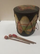"""Vintage Kids """"Indian Head"""" Trading Post Tom Tom Drum with Beaters (C6-5-A)"""