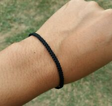 Super Thin 0.3 cm Thai Monk Blessed Buddhist Wristband Bracelet Black Friendship