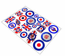 Set 21 Stickers Vinyl Car Auto Moto Motorsport MOD Target Scooter UK Flag Logo