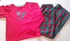 Girls long sleeve pajamas size 10, OshKosh, red, green, plaid, dog, *884