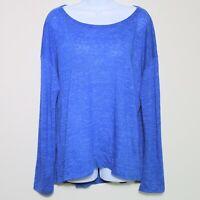 EILEEN FISHER 100% Organic Linen Blue Long Sleeve Wide Neck T-Shirt Womens Large