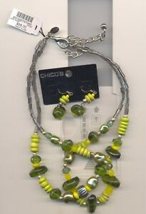 CHICO'S GREEN BEADS NECKLACE & MATCHING EARRINGS