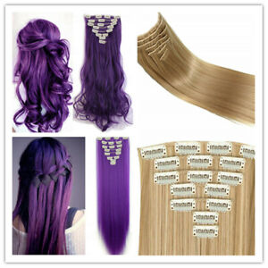 Full Head Clip In Hair Extension Curly Wave Hairpiece Extensions like human hair