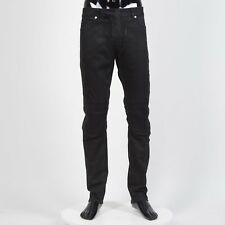BALMAIN 1195$ Skinny Biker Jeans In Black Stretch Cotton