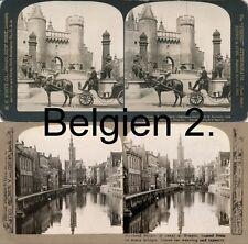 22 STEREOFOTOS BELGIEN, BELGIUM, BRÜSSEL, ANTWERPEN, WATERLOO, UM 1900, SERIE 2