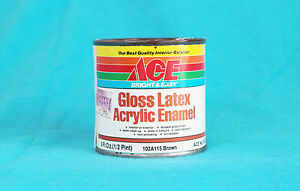 VINTAGE ACE BRIGHT & EASY GLOSS LATEX ACRYLIC ENAMEL - USED - BROWN - 3/4 FULL