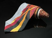 Vitaliano Pancaldi Tie Vibrant Colorful Red Gold Chain Orchid Necktie Silk