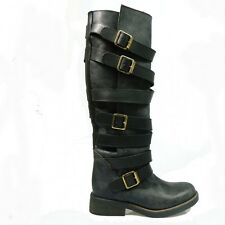 STEVE MADDEN- HIGH QUALITY women Genuine Leather bike BOOTS COMBAT- MILLITARY