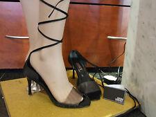 Versace Italy EU 39 Fabulous Black Lace Up Faux Crocodile Shoes Sandals UK 6-6.5