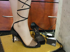 Versace Italy EU 39 Fabulous Black Lace Up Mock Crocodile Shoes Sandals UK 6-6.5