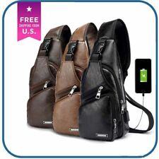 Men's Chest Bag Shoulder Sling Pack USB Charging Port Leather Crossbody Handbag
