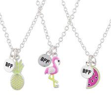 Lux Accessories Silver Tone Flamingo Fruit BFF Best Friends Necklace Set 3PC