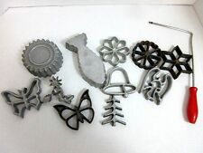 Vintage Cast Iron Figural Cookie Cutter Patty Mold Forms Pastry Cooking 12 Pcs