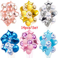 "14pcs/set 12"" Confetti Latex Foil Balloon Birthday Wedding Hen Party Baby Shower"