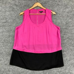 City Chic Womens Top Plus Size XS Pink Sleeveless Round Neck Zip Blouse 129.30