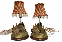 Vintage Pair Of Lamps Cottage Village Tested And Working