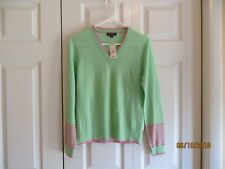 Brooks Brothers Womens Green Pink Merino Wool V Neck Sweater Size Medium