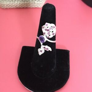Gorgeous Faceted Amethyst In A Rose White Gold Over Sterling Silver Ring  8