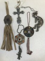 Lot Of 5 Metal Hanging Christmas Tree Ornaments Some With Stones