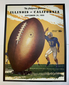 "Illinois Fighting Illini California Football 1955 Program Poster Print 14"" x 11"""