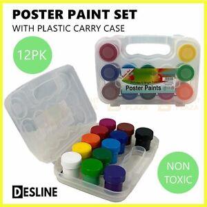 12pk x 20ml Poster Paint Set Washable School Paints Student Kids Children Art